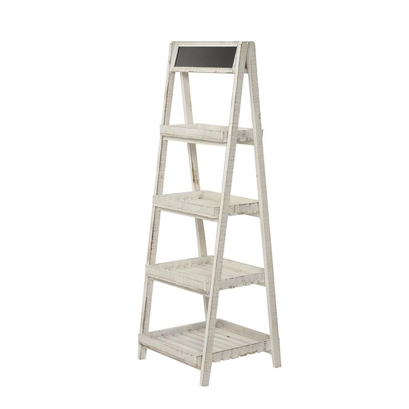 white wood shelves
