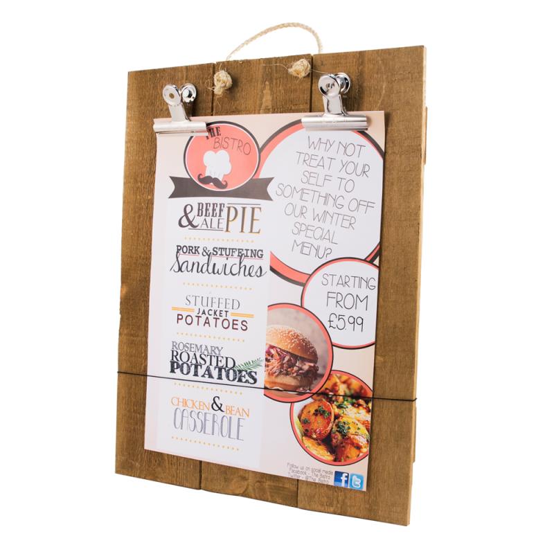 Rustic wooden poster holder