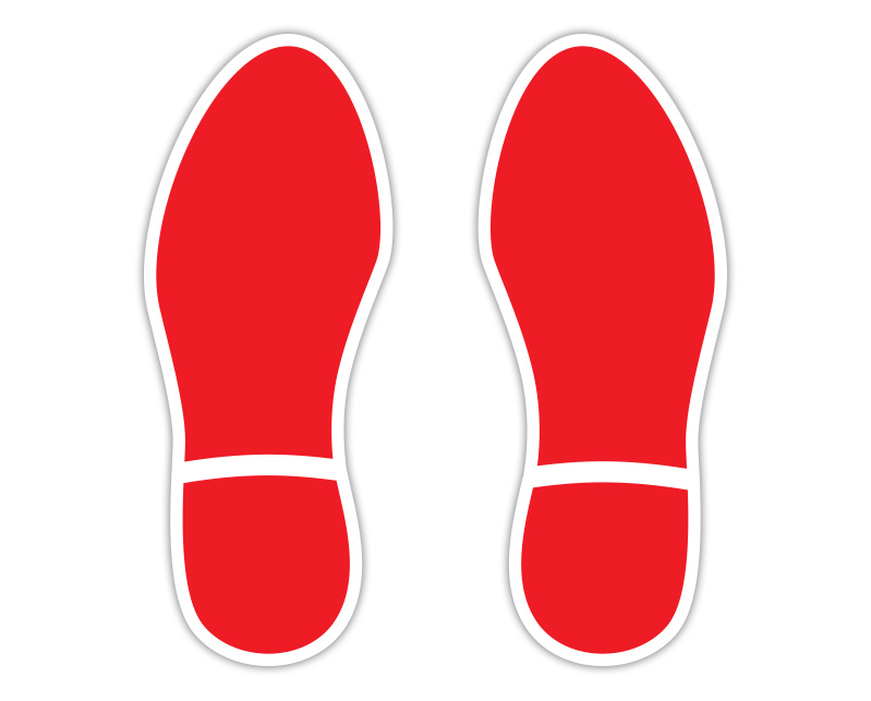 Red Footprint Floor Stickers